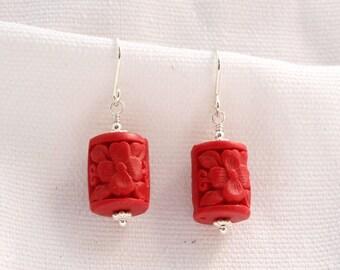 Red Cylindrical Cinnabar Earrings