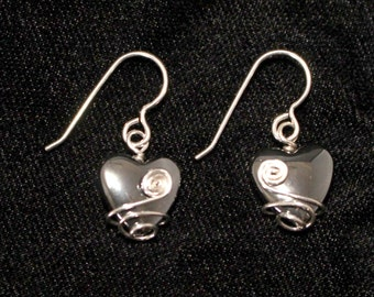 Wire-wrapped Hematite Heart Earrings
