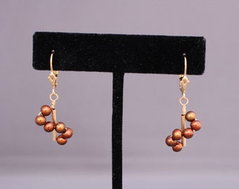 Freshwater Pearl Gold-filled Wire-wrapped Swirl Earrings G444