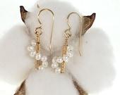 Wire Wrapped Pearl Swirl Earrings