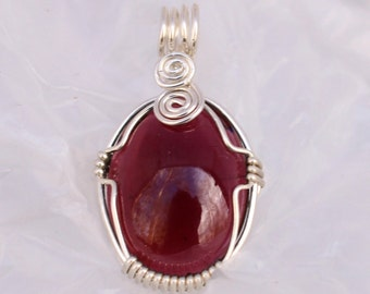 Wire-wrapped Garnet Pendant
