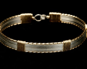 Wire Wrapped Gold and Silver Bangle