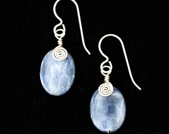 Wire-wrapped Kyanite Earrings