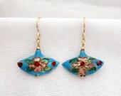 Blue Cloisonne Fan Earrings