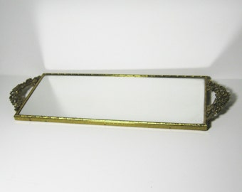 Vintage Ormalu Large Mirror Tray Rose Handles Matson Decor