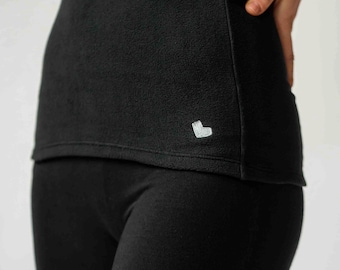 Black antimicrobial FLEECE belly band - belly warmer - kidney warmer for winter