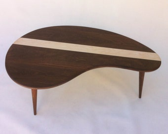 kidney bean table jelly bean mid century modern coffee cocktail table solid walnut with maple inlay kidney bean shaped boomerang design table etsy