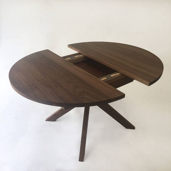 Round Dining Table With Extension Solid, Round Table With Leaf Extension