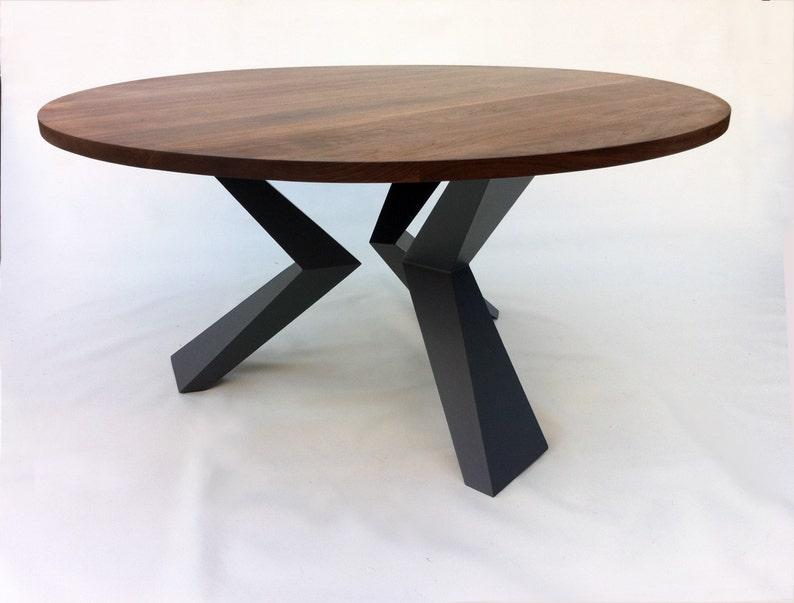 Contemporary Modern Round Dining Table Solid Walnut With Bird Etsy