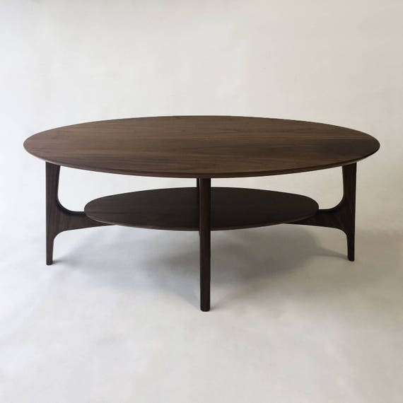Mid Century Modern Coffee Table With Shelf Solid Walnut
