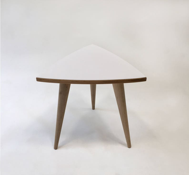 QUICK SHIP New Atomic Era Design Side Tables in White Laminate Single or Pair Mid Century Modern Triangle Shaped End Tables