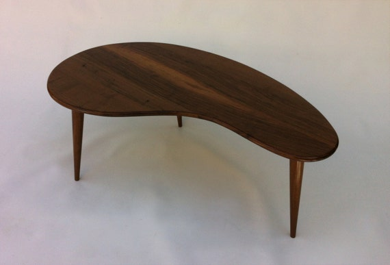 Mid Century Modern Coffee Table Solid Walnut Kidney Bean
