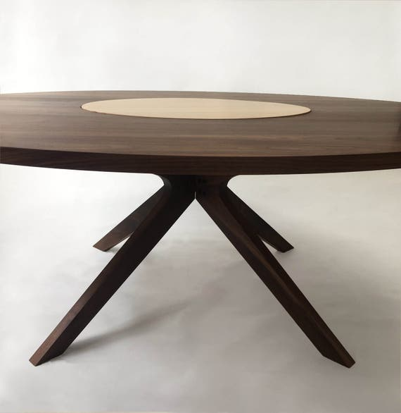 Contemporary Modern Solid Walnut Round Dining Table with Maple Lazy Susan  Modern & Sculptural Solid Walnut Legs - 72\