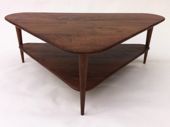 Mid Century Modern Coffee Table W Shelf Triangle Cocktail Etsy - Mid century triangle coffee table