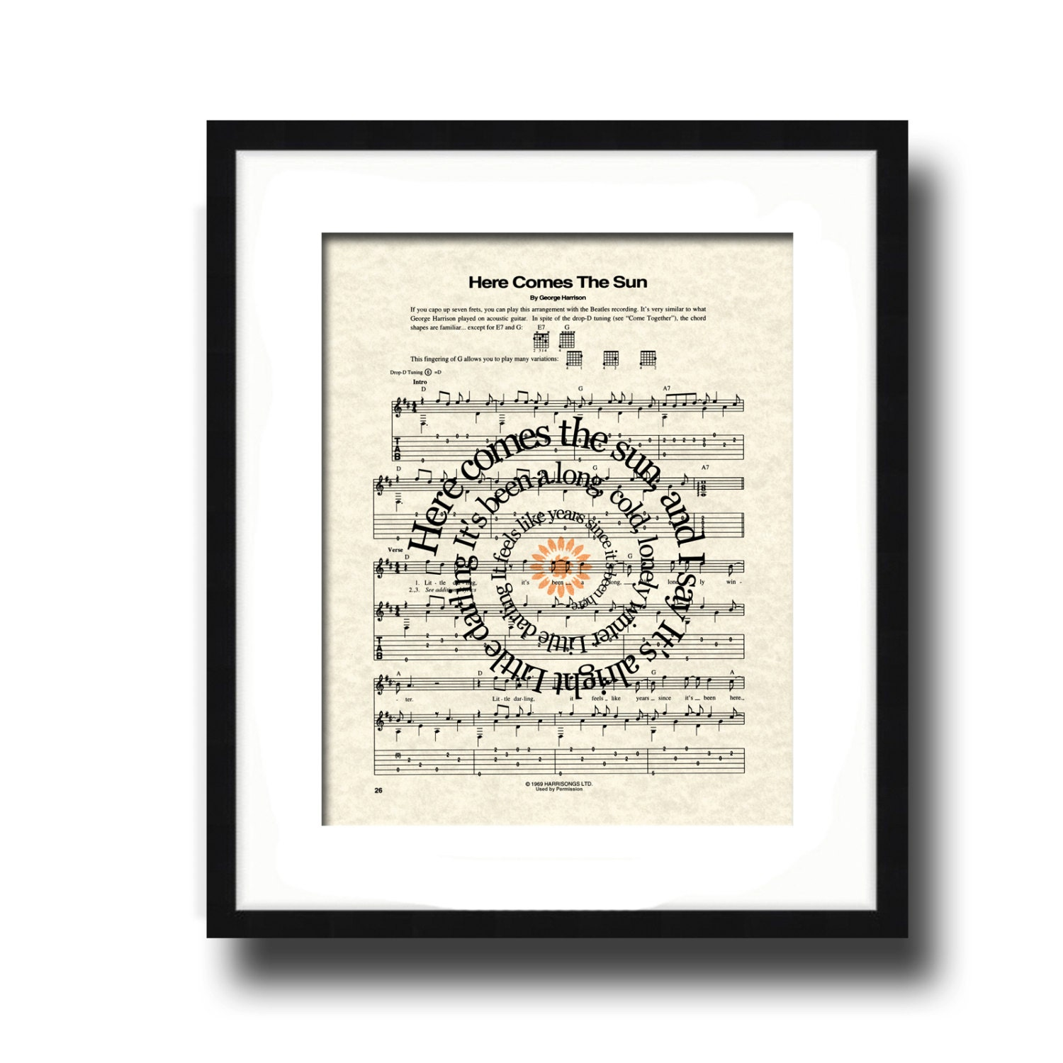 Here Comes The Sun Song Lyric Sheet Music Art Print Spiral Etsy