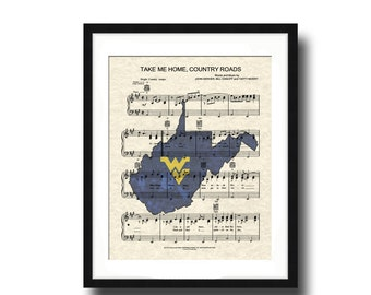 West Virginia   WVU Gifts   Dorm Decor   Take Me Home Country Roads   Graduation Gift   Unframed Art Print