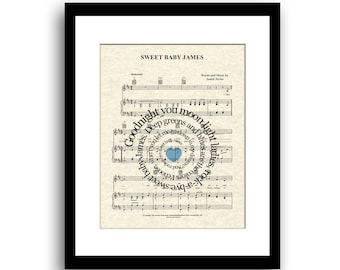 Sweet Baby James   Song Art Print    Custom New Baby Gift   Nursery Décor    Unframed Art