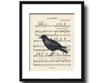 Blackbird   Song Art Print   Sheet Music Art   Unframed Art