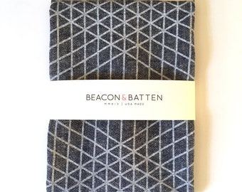Diamond Grid Towel : Dark Chambray Ground - White Print