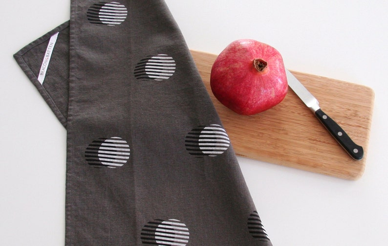 Stripe Circle Towel : Charcoal Ground  Black/White Print image 0