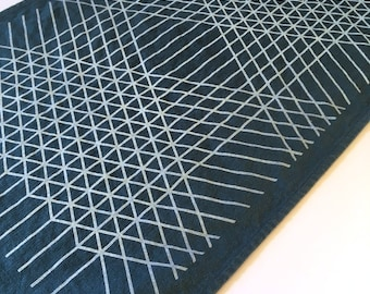 Diamond Grid Towel : Dark Teal Ground - White Print