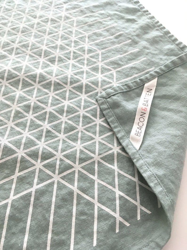 Diamond Grid Towel : Mist Ground  White Print image 0