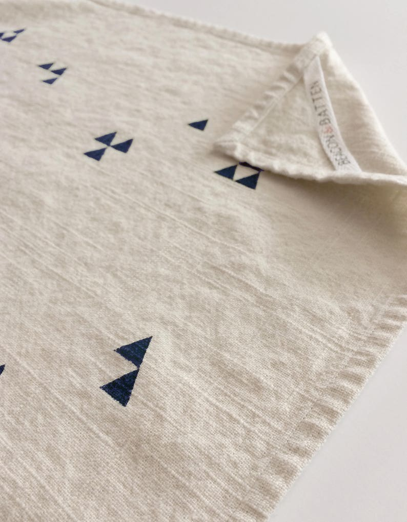 Triangle Towel : Natural Ivory Ground  Navy Blue Print image 0