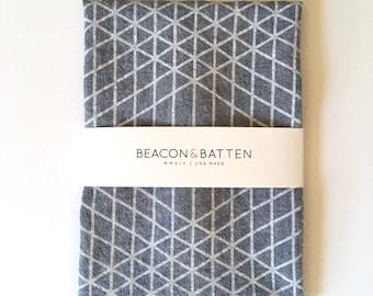 Diamond Grid Towel : Chambray Ground - White Print