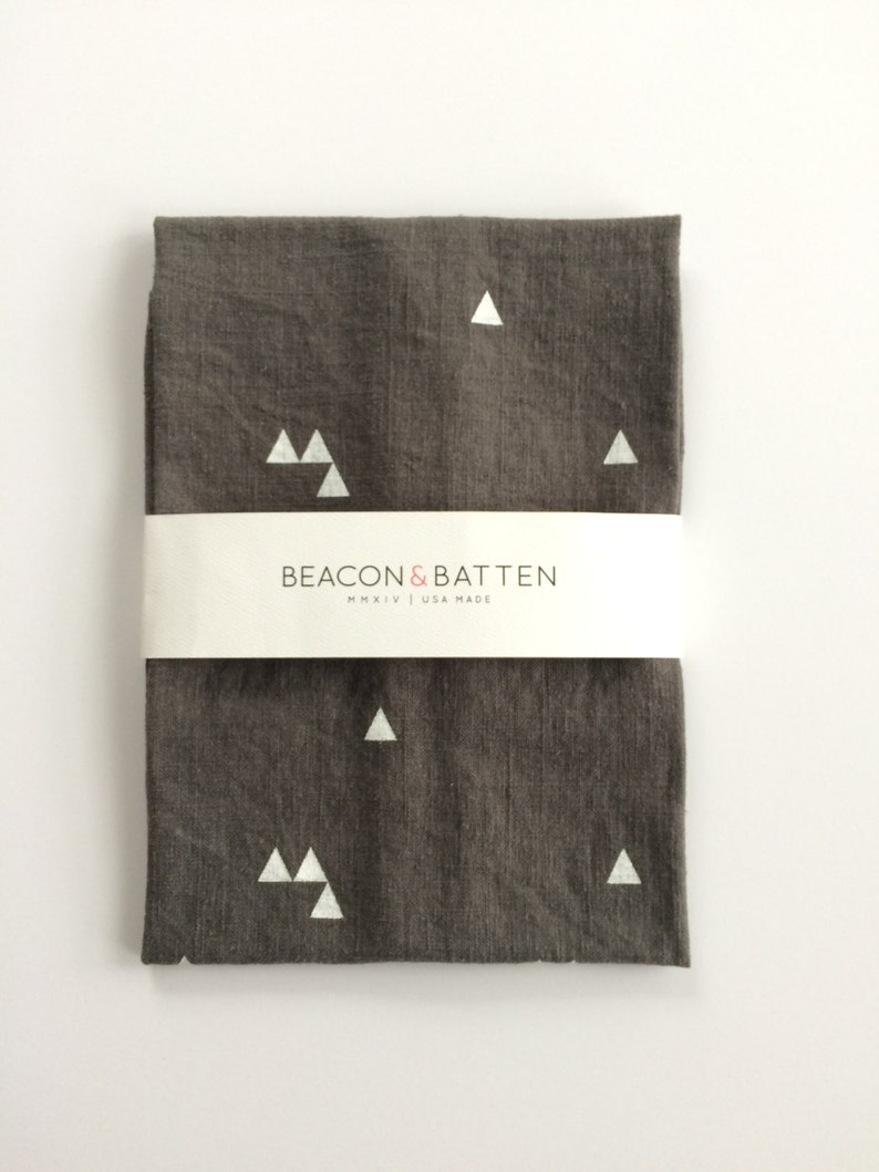 Triangle Towel : Charcoal Ground  White Print image 0