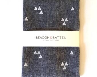 Triangle Towel : Dark Chambray Ground - White Print