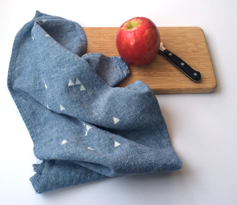 Triangle Towel : Chambray Ground  White Print image 0