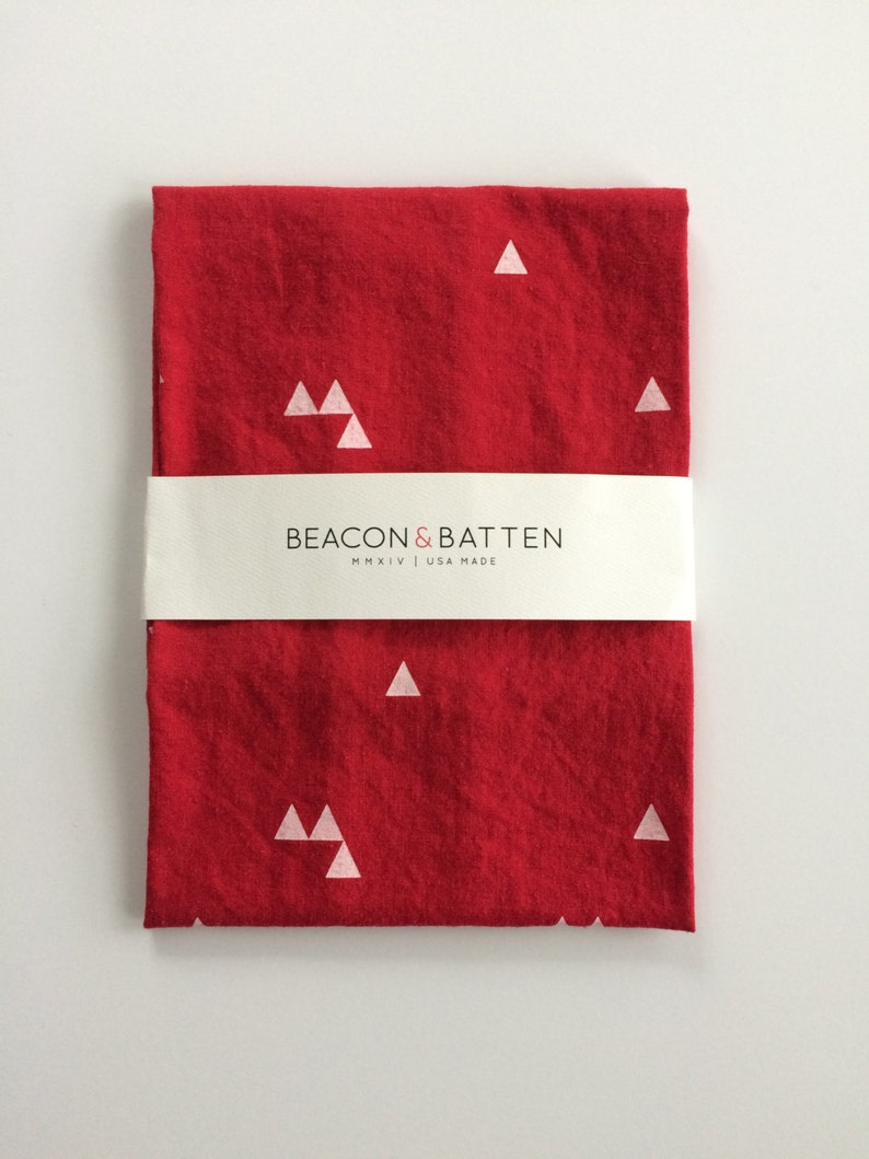 Triangle Towel : Red Ground  White Print image 0