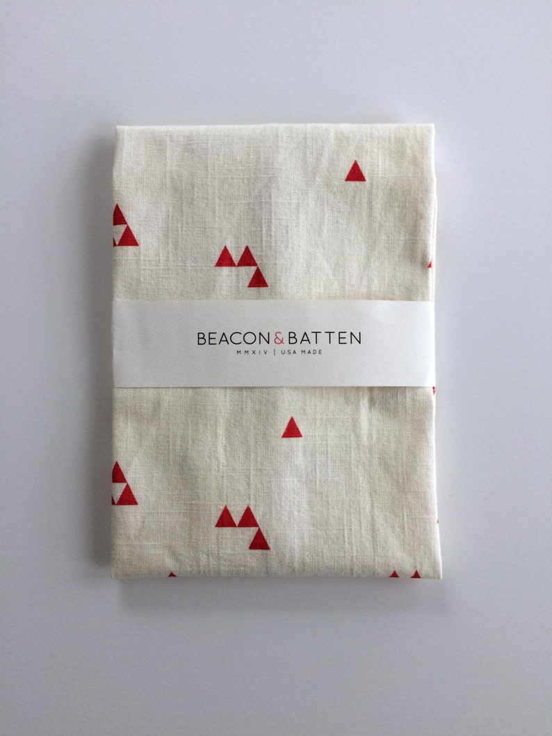 Triangle Towel : White Ground  Red Print image 0