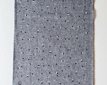 Scattered Dot Towel : Dark Chambray Ground - Black/White Print