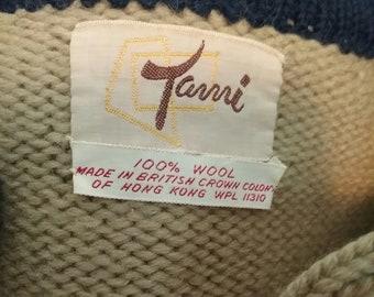 Vintage Tami Wool Crop Cardigan Sweater Khaki and Navy
