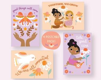 4 Art Postcard Set: Self-Care, Togetherness & Connection