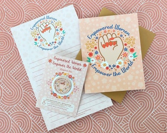 Gift Set: Empowered Women Empower the World Notepad, Enamel Pin & Greeting Card