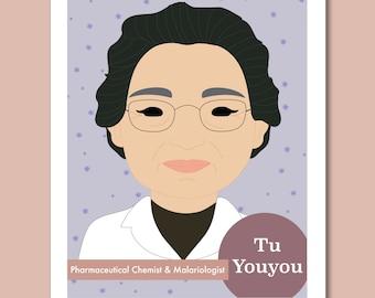 Sheroes Collection: Tu Youyou 8x10 Art Print Famous Women in STEM