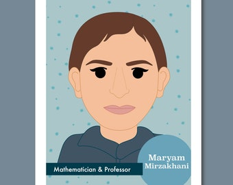 Sheroes Collection: Maryam Mirzakhani 8x10 Art Print Famous Women in STEM