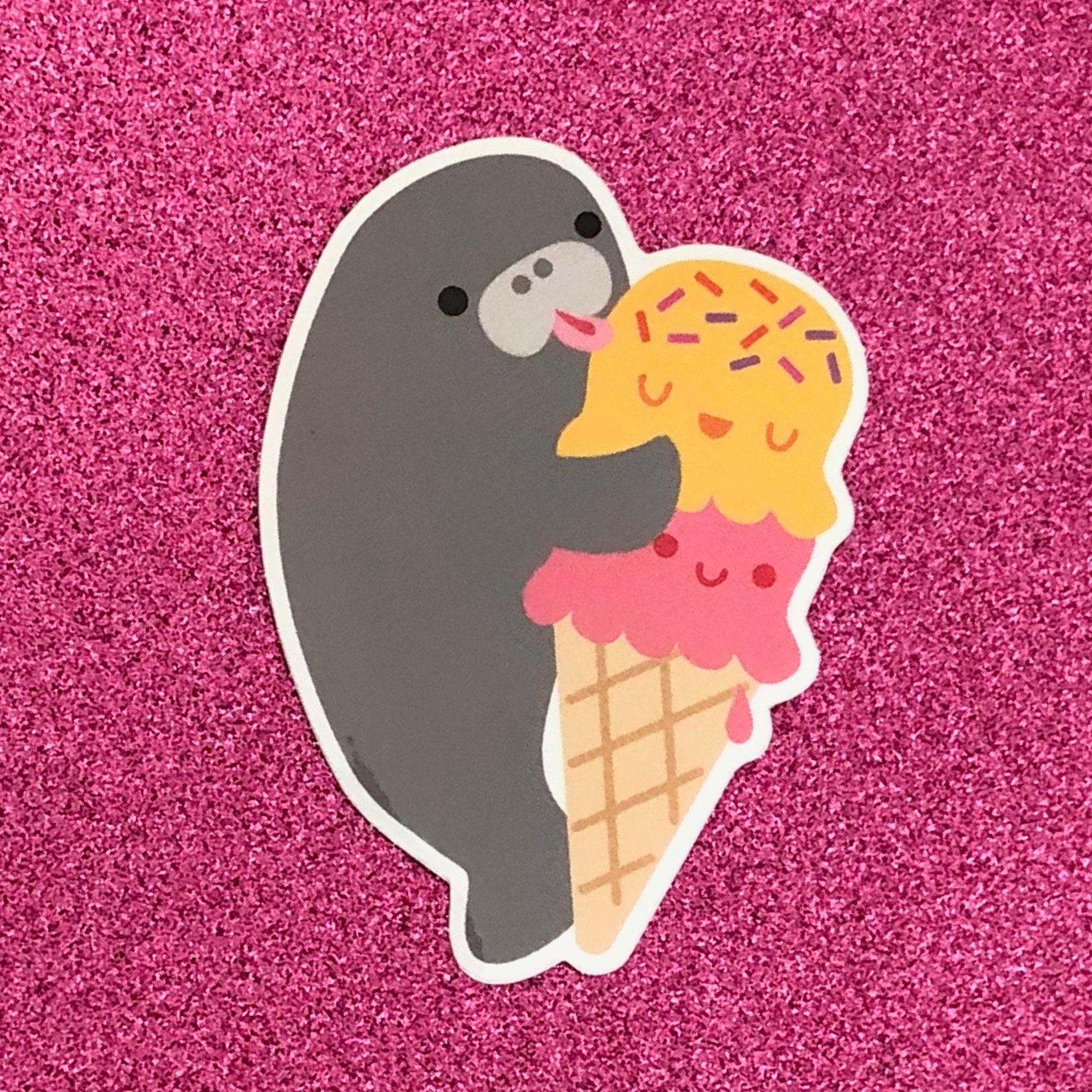 Manatee & Ice Cream Vinyl Sticker | Etsy