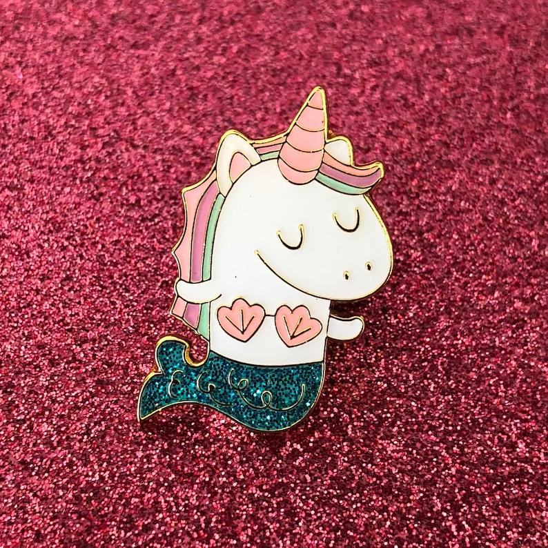 Mernicorn Unicorno Sirena Super Kawaii Glitter Smalto Duro Pin Etsy
