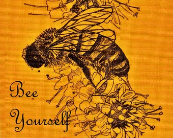 Art therapy etsy sale 50 off printencouragement honey bee bee drawing honeybee golden wall decor home decor bumble beeart therapy bee yourself solutioingenieria Gallery