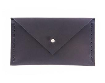 Leather Envelope Wallet - Black