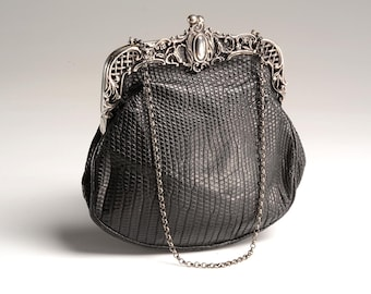 Elegant Black Leather and  Hallmarked English Silver Handbag: Victorian