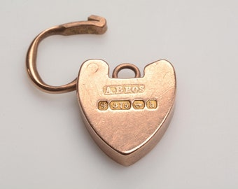 9kt Yellow Gold HEART shaped clasp and/or charm: hallmarked 1907 Birmingham, England
