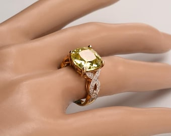 Very Special Faux Topaz and Faux Diamond Ring set in Sterling Silver:  Used in the '60s as part of a Cabaret Singer's Costume