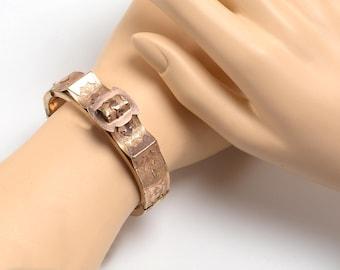 Victorian Gold Tone Bangle Bracelet: buckle design