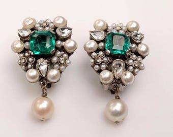 Fine Costume Earrings: Vintage, Full Bezel Setting, 1950s, Faux Emerald, Faux Pearls, White Rhinestone Tear Drops, Hungarian Court style