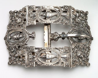 ON SALE 19th c. Ornate Silver Clothing BUCKLE:  Hallmarked Dutch Silver - repeating design of urns, female faces, flowers