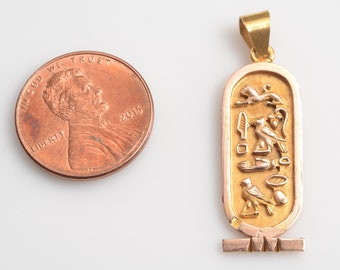 ON SALE 14kt Hallmarked Egyptian Cartouche Pendant/Charm: 14kt Yellow and Pink Gold